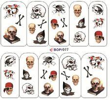 Nail Art Sticker Water Decals Transfers Halloween Skulls and Reaper (BOP077)