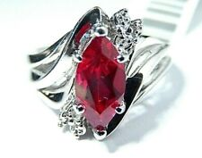 *NWT*  .85 Ct Marquise Ruby & Natural Diamond 10k White Gold Ring Sz 6.5