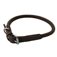 HAND-MADE BROWN FAUX PU LEATHER ROLLED DOG COLLAR TRAINING STRONG LABRADOR