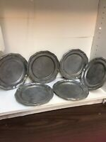 "Vtg 1970's Crown Castle Crown Castle Pewter QUEEN ANNE 9-3/4"" DINNER PLATES X6"