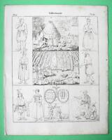 FINLAND PEOPLE Laplanders Fisherman Tent Eskimo Grave - 1825 Antique Print
