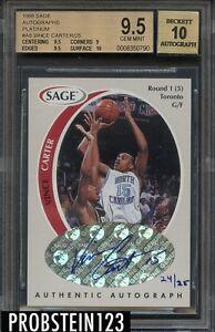 1998-99 Vince Carter Rookie Sage Platinum AUTO #24/25 BGS 9.5/ 10 AUTO POP 1