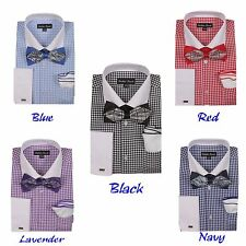 Men's Checked Dress Shirt  French Cuff With Bowtie & Flower-Hanky  FL-628