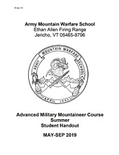 New Listing82 Page Army Advanced Military Mountaineer Course Summer Student Handout on Cd