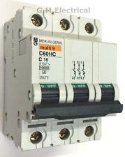 MERLIN GERIN 16 Amp TYPE C 16 A Triple Pole 3 Phase C60HC316 DGMC SCHNEIDER 25673