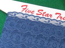 bulk LOT vintage floral LACE trim 30 metres OLD Sewing trim 1970s navy BLUE lace