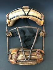 Vintage Wire and Leather Baseball Catchers Mask Antique Old Sports Equipment