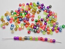 1000 Mixed Color Silver Foil Acrylic Barrel Mini Pony Bead 4X3mm Kids Craft Kand