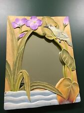 """Hawaiian Island Style 12"""" x 9"""" Tropical Carved Wooden Hanging Frame Or Mirror"""