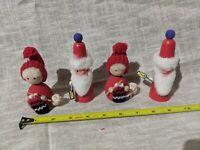 4 VTG Wood Christmas santa Mrs Claus crochet Swedish Figure Nordic Sweden