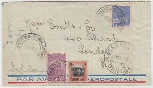 BRAZIL 1929 multi franked early air mail cover *SANTOS-LONDON*