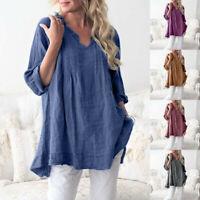 Women Casual Long Sleeve V-Neck Ruffled Pleats Pullover Shirt Plus Tops Blouse