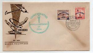 1954 Manila Philippines Commemorating The Manila Conference FDC Cachet  S613-614