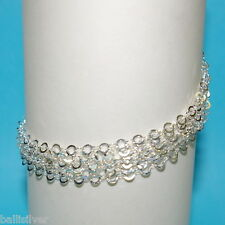 St. Silver 925 6 Strands 4mm Flat Circles Chain Anklet