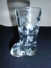 VTG 2 OZ Etched Flower Glass Boot Shot Glass Toothpick Match Holder FREE SHIP!