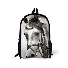Womens Cool Horse Travel Backpack College Shoulder School Bags Daypack Schoolbag