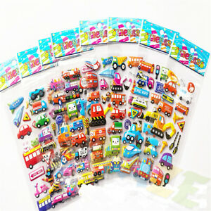 8Sheets Childrens Kids Stickers Car Transportation Buble Scrapbooking Decals