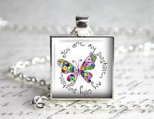 """You are my Sunshine Square Pendant Charm or Keychain 1"""" Butterfly Love Quote"""