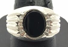 Big Men's Sterling Silver 925 Oval Black Onyx CZ Ridged Brushed Wide Band Ring