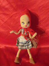 Vintage Little Red Riding Hood Doll Nylon Partial Hand Painted Face Heart Lips