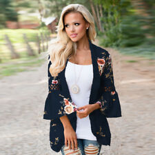 US Boho Womens Long Sleeve Lace Floral Kimono Cardigan Blouse Casual Jacket Tops