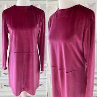 Vintage 90s Pink Sz M/L Velvet Dress Handmade Long Sleeve One Of A Kind Women