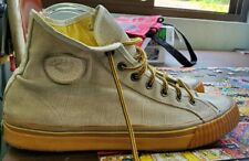 Unisex Ivory 'PF Flyers' Canvas Lace Up High Top Athletic Shoes Size M 9 W 10.5