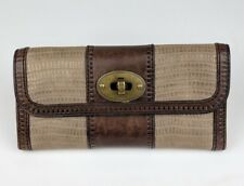Women's Fossil Two (2) Tone Brown Gold Leather Turnlock TriFold Large Wallet EUC