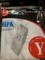 Hoover AH10040 HEPA Vacuum Filter Bags Type Y Uprights 2 Pack. Free/USA shipper