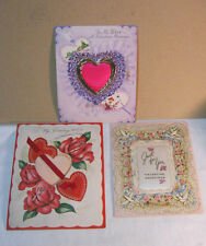 Vtg. Valentine Lot of 3 Lg. Cards  To My Wife & Just for you   T*