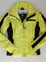 Nils Women's Skiwear Black Neon Yellow paneled Slim Ski Jacket Size 4 EUC