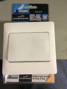 White rocker switch 16 amp 2 way , Ideal for elderly .HOMEBASE BRANDED
