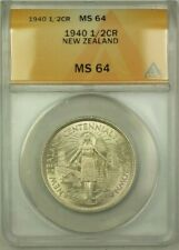 1940 New Zealand 1/2 Crown Coin ANACS MS 64