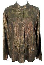 NWT Chico's Jacket Sz 3 Women Bronze Metallic Floral Shimmer Silk Linen XL 16 18