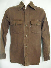 Levis Mens S Big E Vintage White Tab Brown Denim Button Up Rivets Shirt Rare