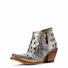 "Ariat 10031501 Women Dixon Studded Silver Metallic 6"" Leather X Toe Cowgirl Boot"