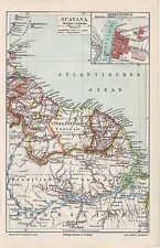 GUAYANA Surinam Cayenne Georgetown LANDKARTE 1905 Barbados