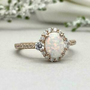 3Ct Oval Fire Opal & Diamond Halo Women's Engagement Ring 14K Rose Gold Finish