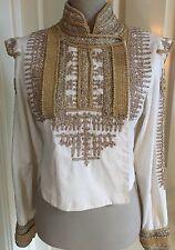 Malene Birger Cream Military Jacket w Gold Bronze Thread Detail U.K. 8-10