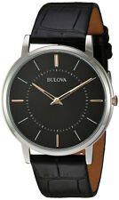 Bulova Men's Quartz 30m Stainless Steel and Leather Casual Watch 98A167