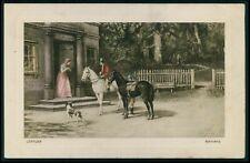 art Loffler Horse man ride welcome original old 1910s postcard
