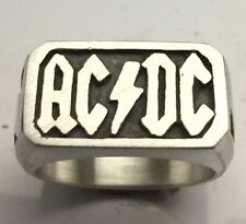 MJG STERLING SILVER RING. AC/DC. SIZE 10. BIKER. GUITAR PLAYER. SG. ANGUS