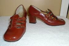 Vtg 1970s 3 Strap Cut-Out Mary Jane Shoes Heels Brown Patent Sz 6 1/2 Nos