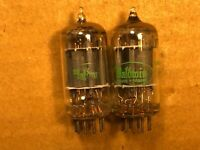 Matched Pair 1962 Sylvania 12AX7 Tubes Long Plate Super Strong Balanced D