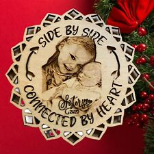 Personalized Christmas Ornament  3D Laser Engraved Wood Using Your Photo