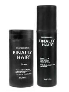 FINALLY HAIR BUILDING FIBERS BOTTLE & FIBER LOCK HAIR SPRAY - HAIR LOSS KIT USA