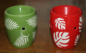 2 Scentsy Retired Mini Warmer TOP ONLY Tropical ceramic palm schefflera leaves