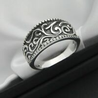 Vintage Ornate Design Band Ring in Solid 925 Sterling Silver ~ Size R ~