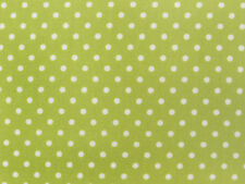 Lime Pea Green/White 3mm POLKA DOTS COTTON Poplin fabric spots craft dress