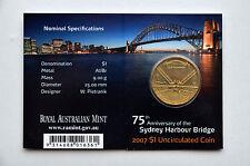 $1 Dollar 2007 Australia 75th Sydney Harbour Bridge Unc Mintmark M Melbourne